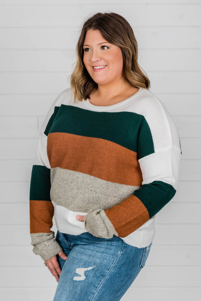 Here For A Lifetime Green Colorblock Sweater