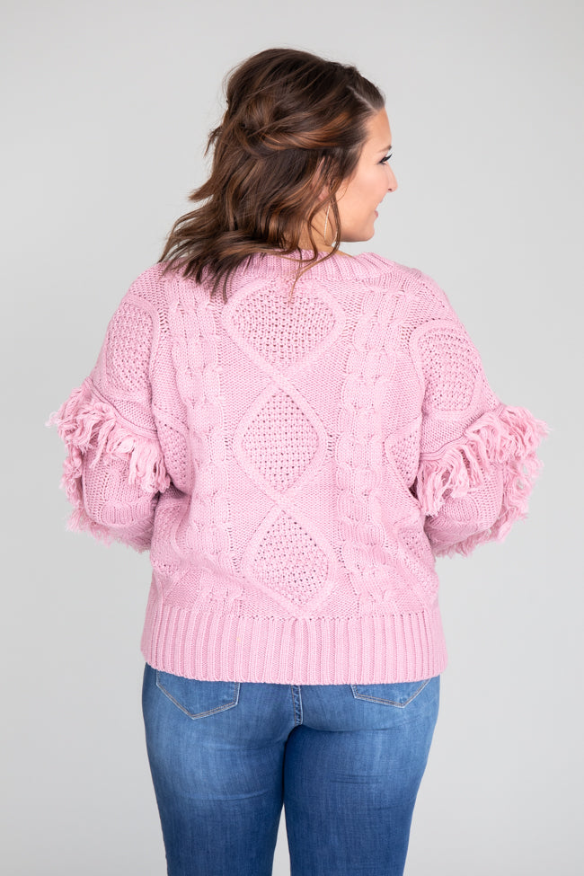 Your Best Interest Cable Knit Mauve Sweater FINAL SALE