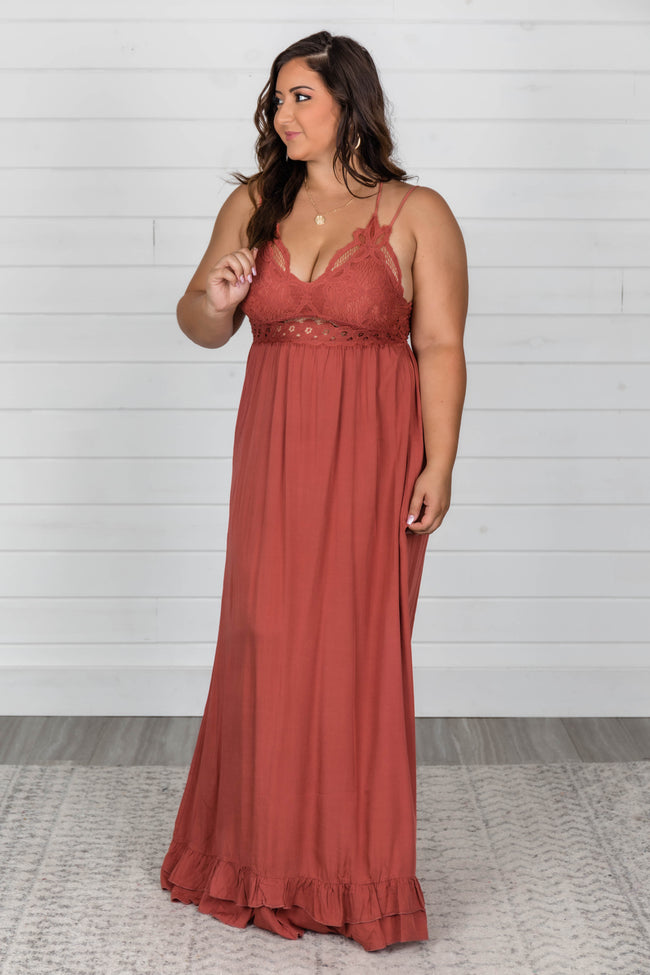 Such A Delight Rust Lace Maxi