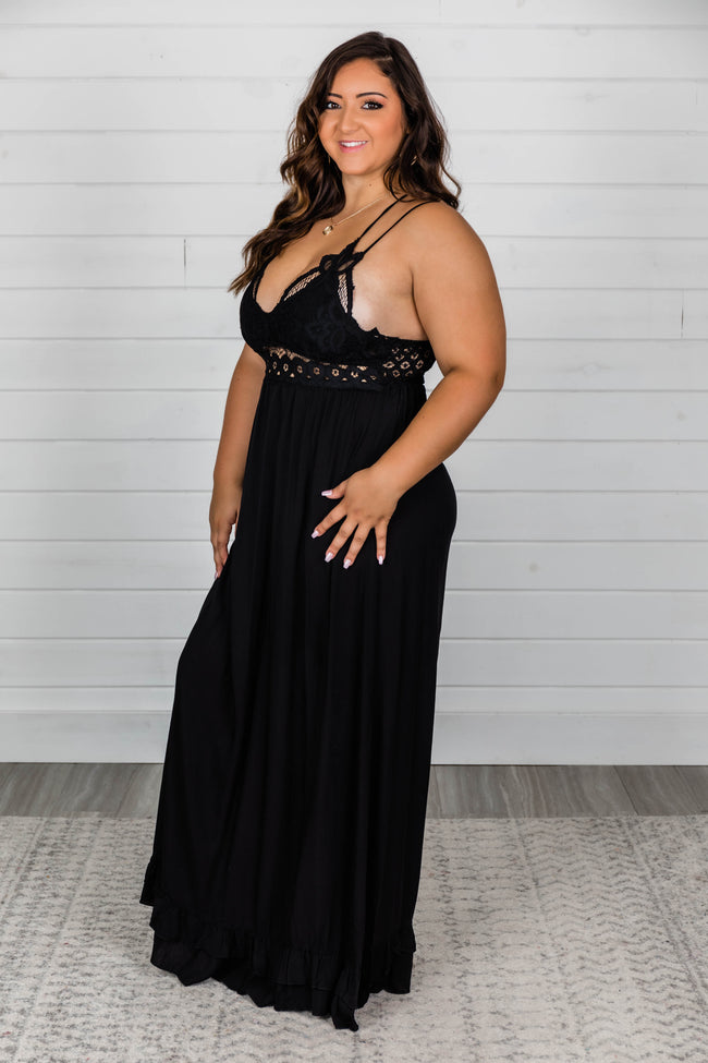 Such A Delight Black Lace Maxi