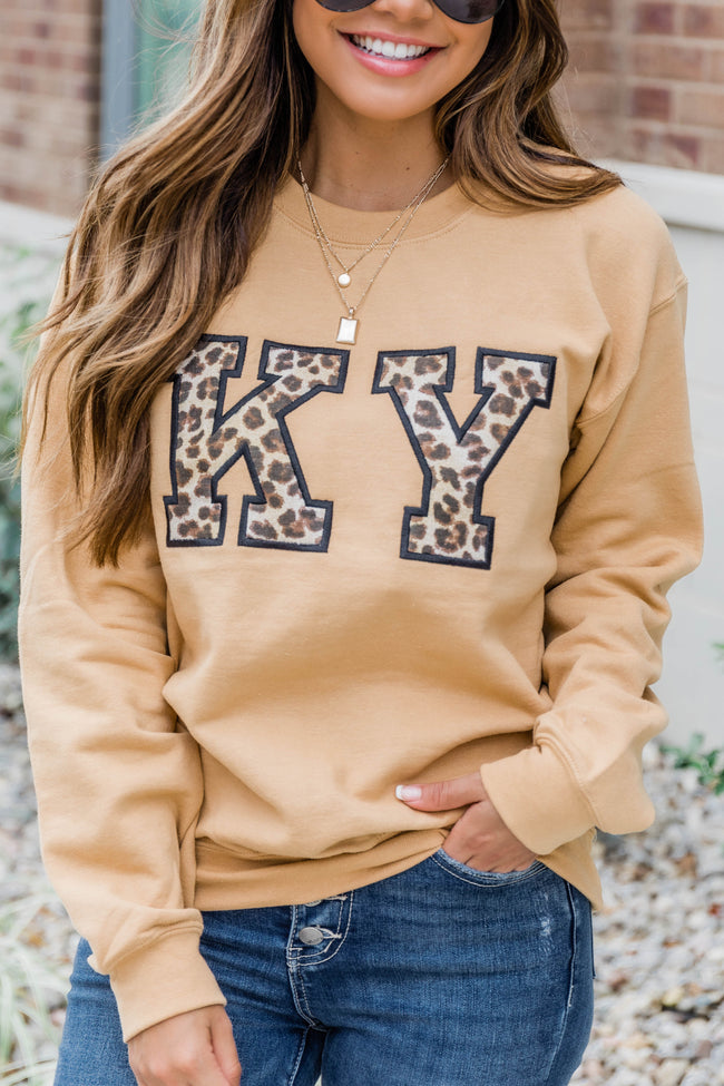 Leopard Print State Applique Gold Sweatshirt