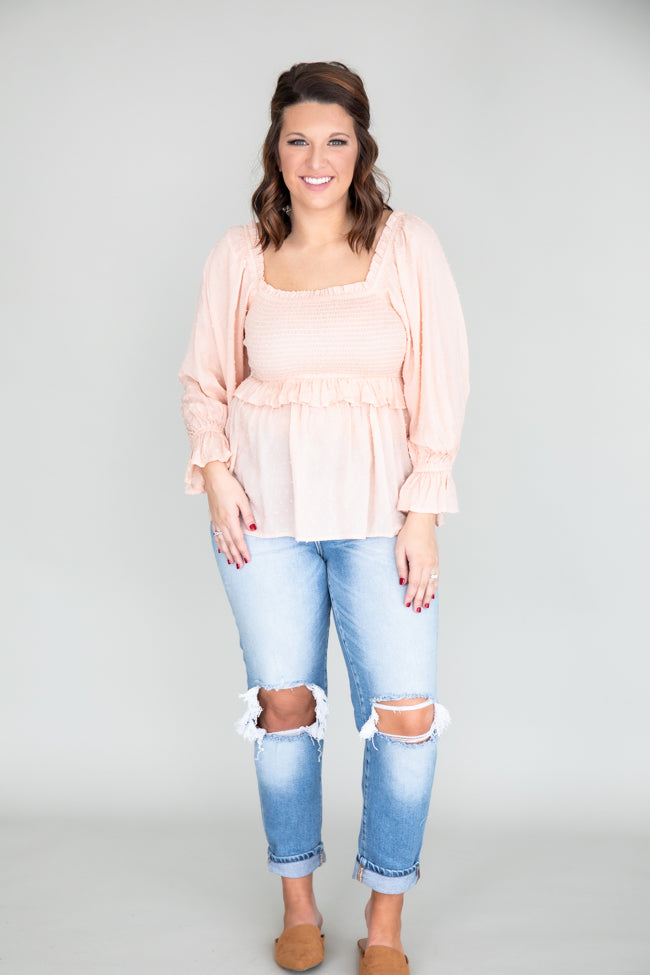 Soul Searching Smocked Peach Blouse