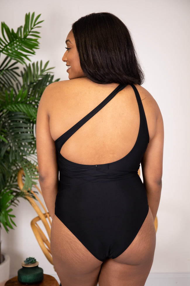 Beyond The Sea Mesh One Piece Black One Shoulder Swimsuit