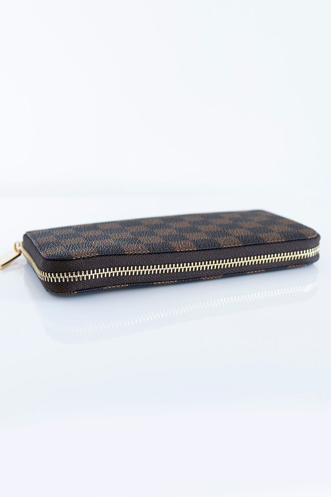 Timeless Style Checkered Brown Wallet