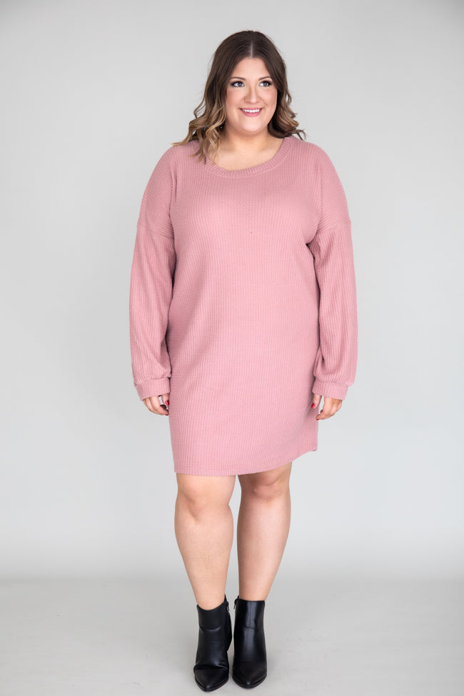 Choose Forever Waffle Knit Mauve Dress
