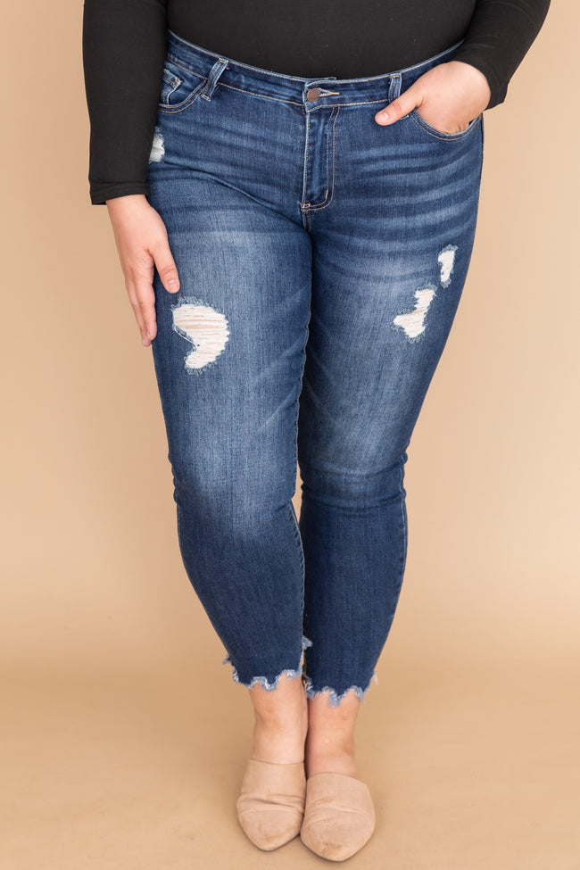 Gillian Distressed Dark Wash Skinny Jeans