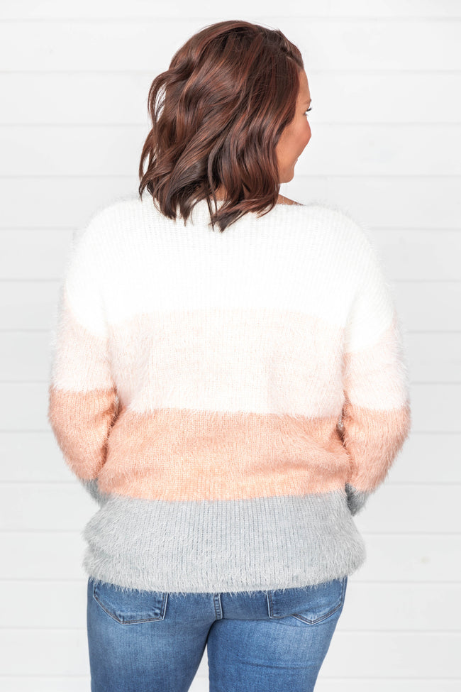 Meant To Be Yours Peach Colorblock Sweater