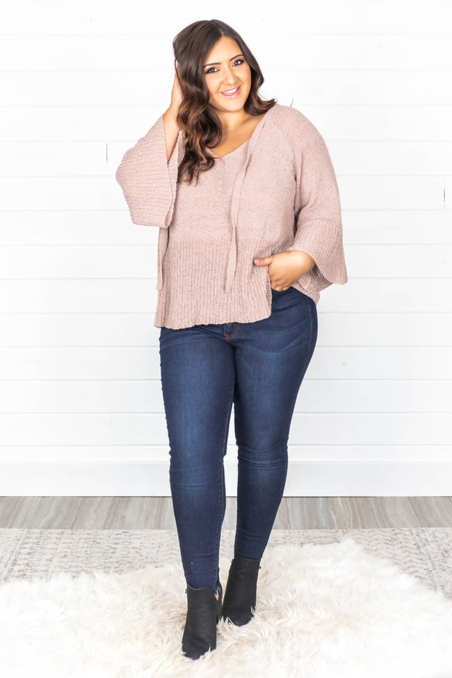 Fireside Chats Taupe Bell Sleeve Sweater CLEARANCE