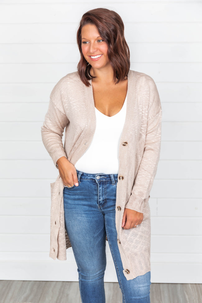 Take Your Time Open Knit Taupe Cardigan