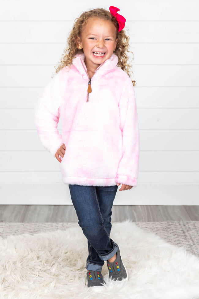 Can't Wait Pink Kids Tie Dye Pullover FINAL SALE
