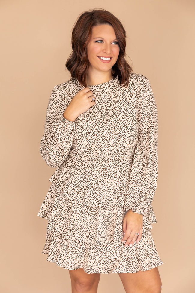 Poetic Love Ruffle Hem Animal Print Ivory Dress