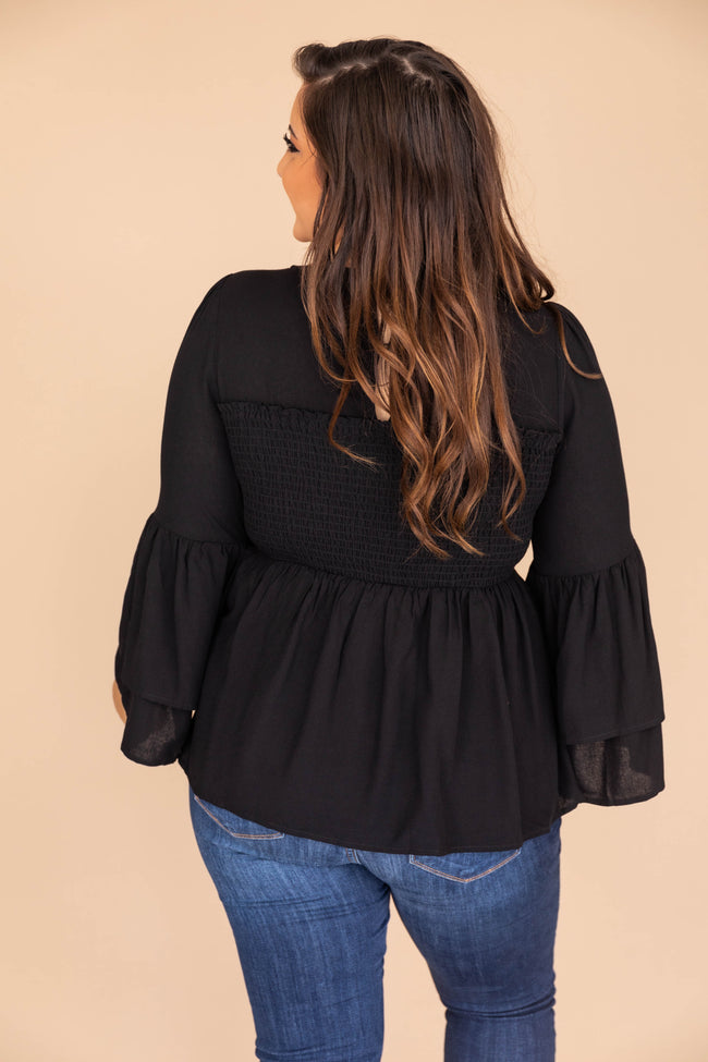 A Lifelong Love Letter Black Blouse