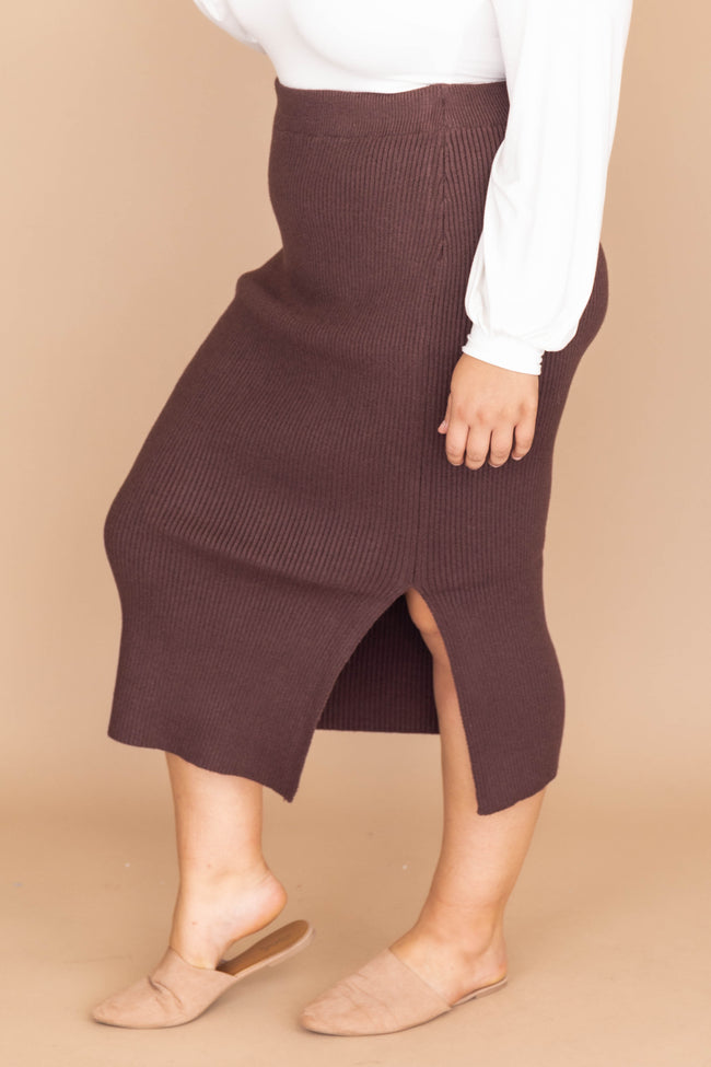 Downtown Dreams Midi Brown Skirt