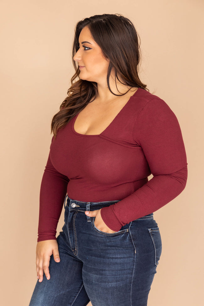 The Perfect Occasion Burgundy Bodysuit