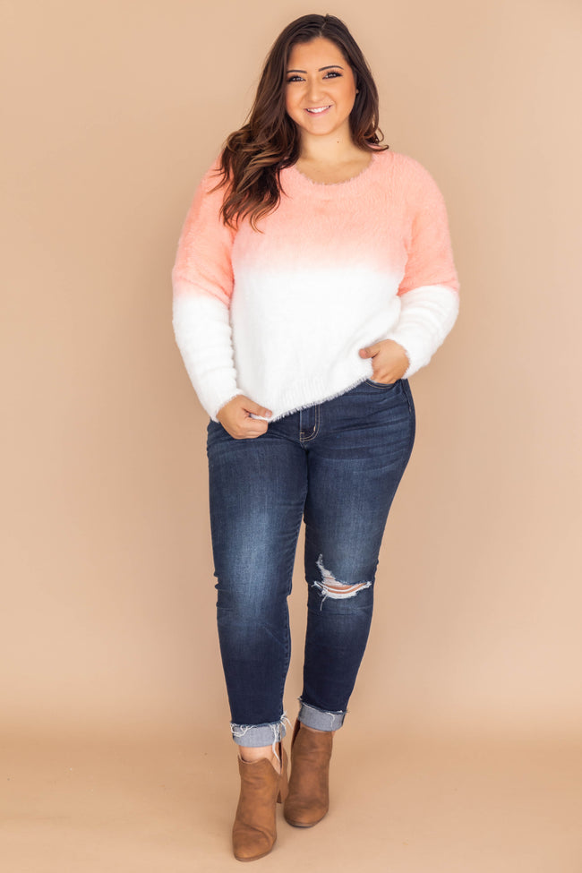 Fade Into The Sunset Ombre Coral Sweater