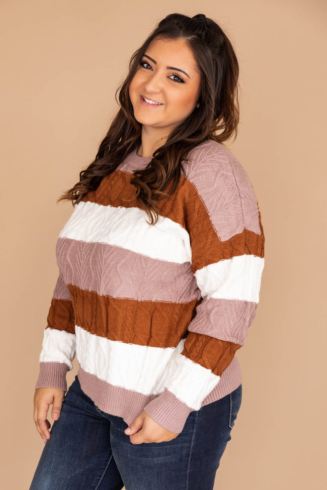 Always Fashion Forward Colorblock Rust Sweater FINAL SALE
