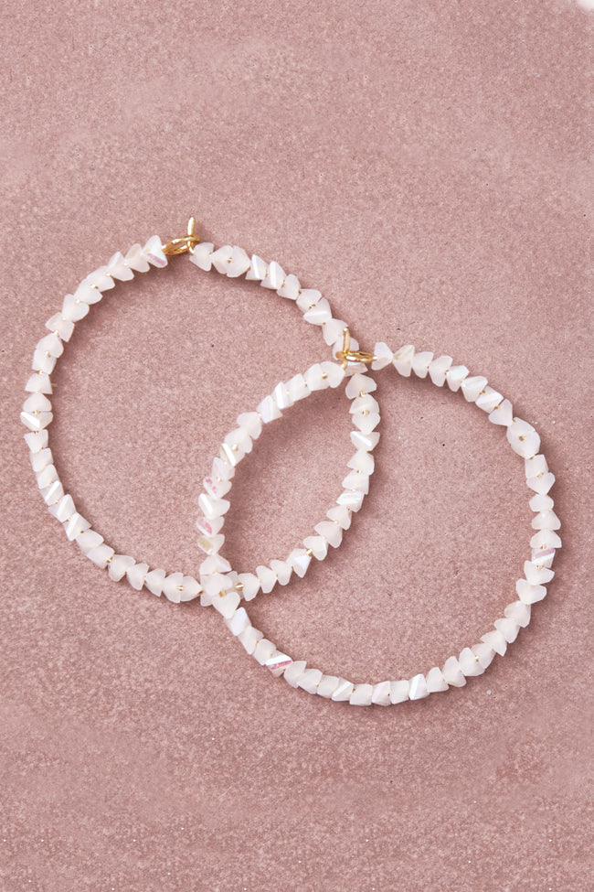Losing Focus White Hoop Earrings