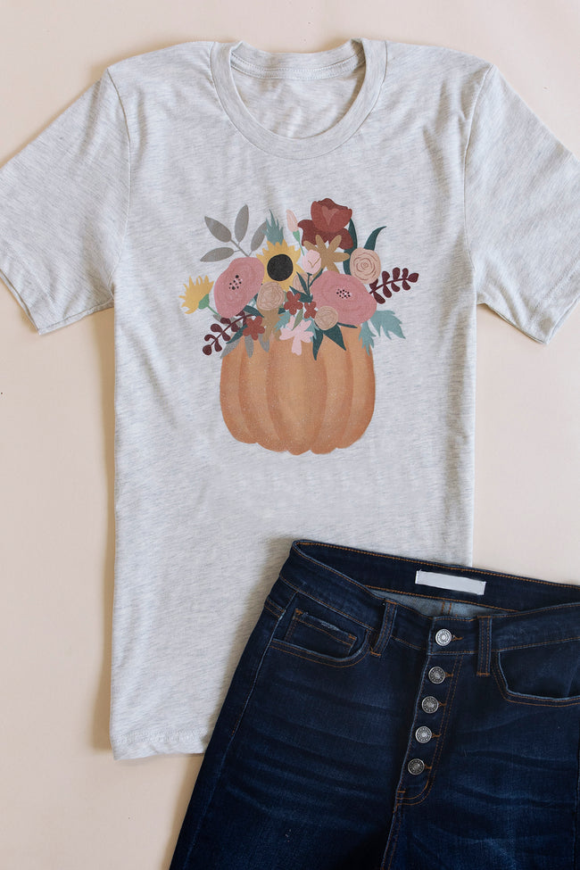 Fall Flowers Graphic Heather Prism Natural Tee