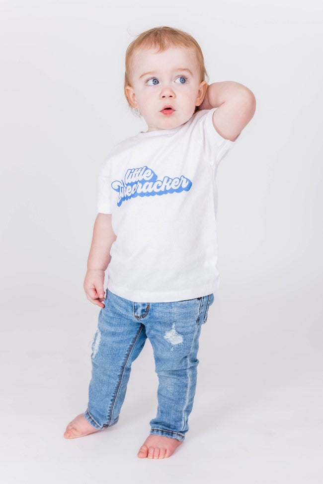 Kids Little Firecracker Graphic Tee White