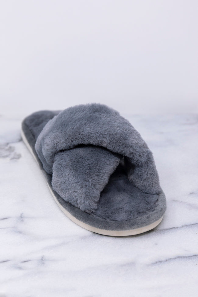 Dreaming Of Winter Grey Fuzzy Slippers