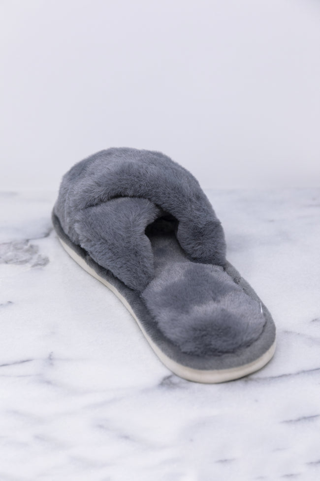 Dreaming Of Winter Grey Fuzzy Slippers FINAL SALE