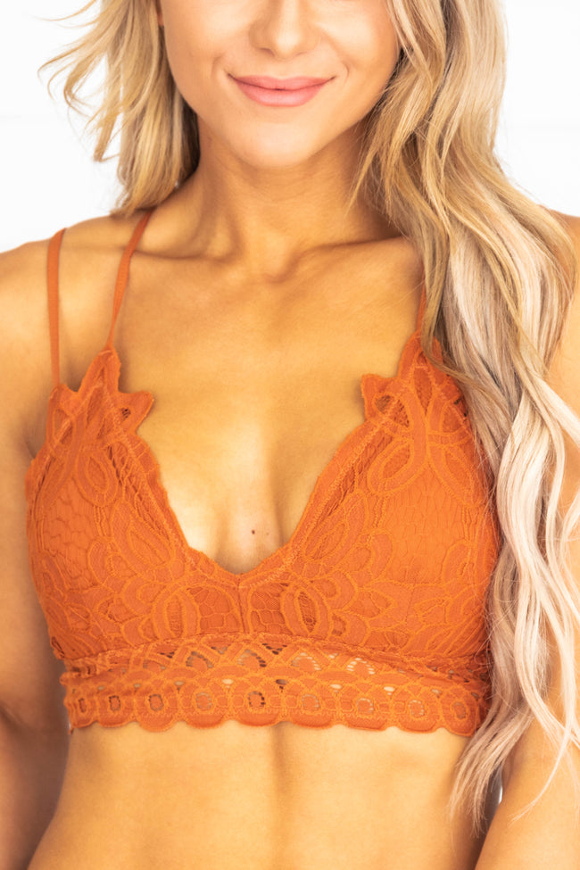 So This Is Love Rust Lace Bralette  FINAL SALE