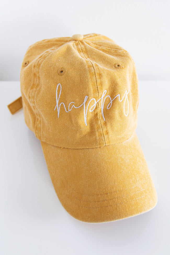 Happy Script Embroidered Baseball Cap Yellow