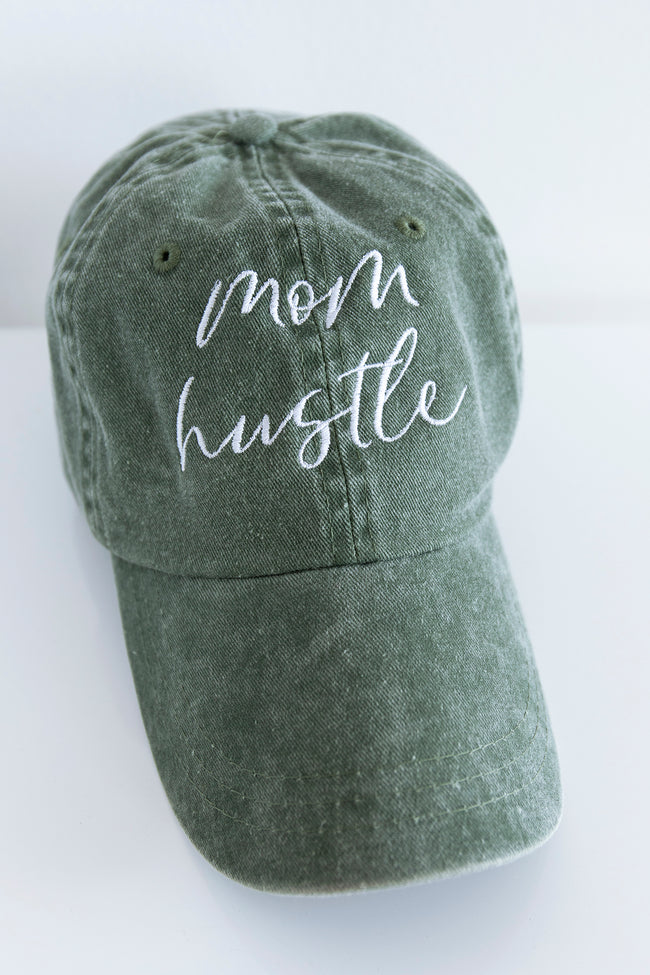 Mom Hustle Embroidered Baseball Cap Olive