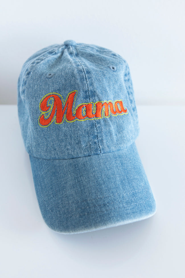 Mama Embroidered Baseball Cap Denim