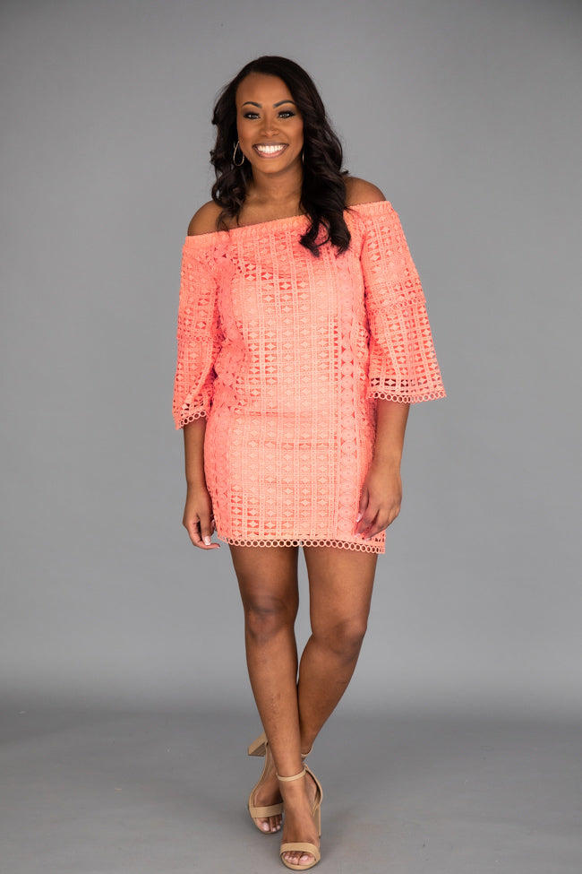 Gleaming With Glory Lace Coral Dress