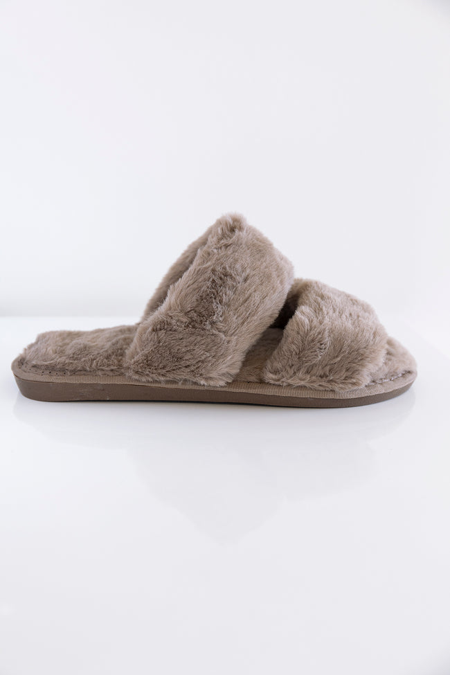 Goodnight Dreams Fuzzy Slippers Tan