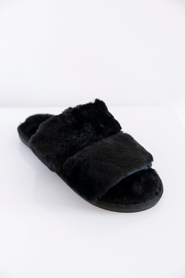 Goodnight Dreams Fuzzy Slippers Black