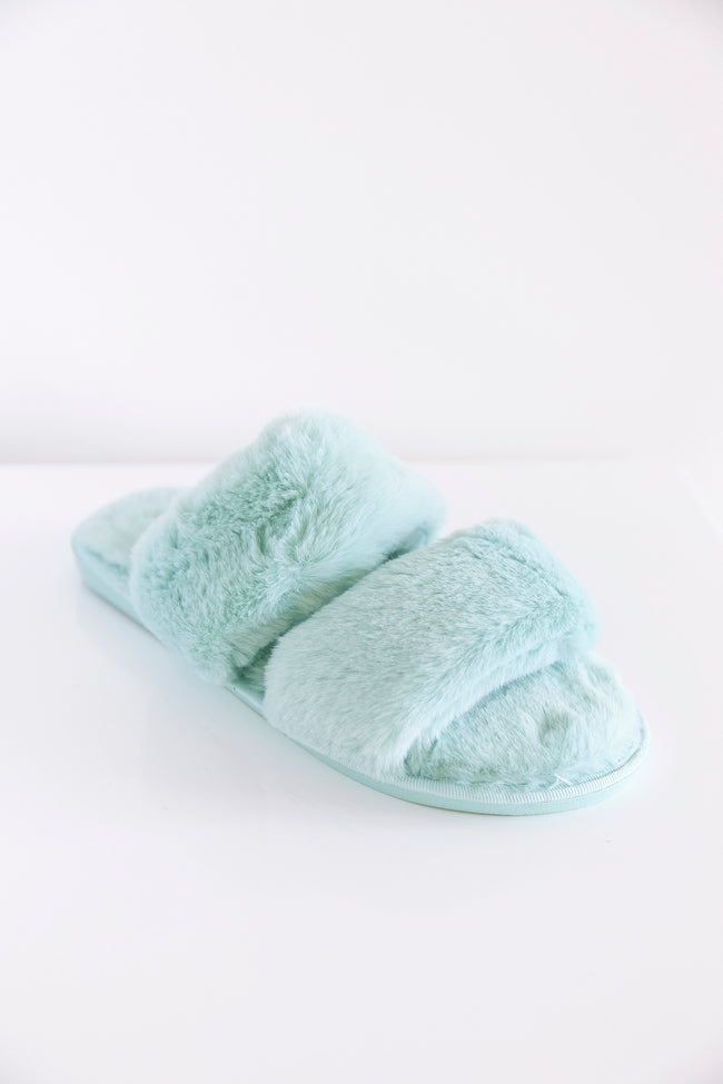 Goodnight Dreams Fuzzy Slippers Mint