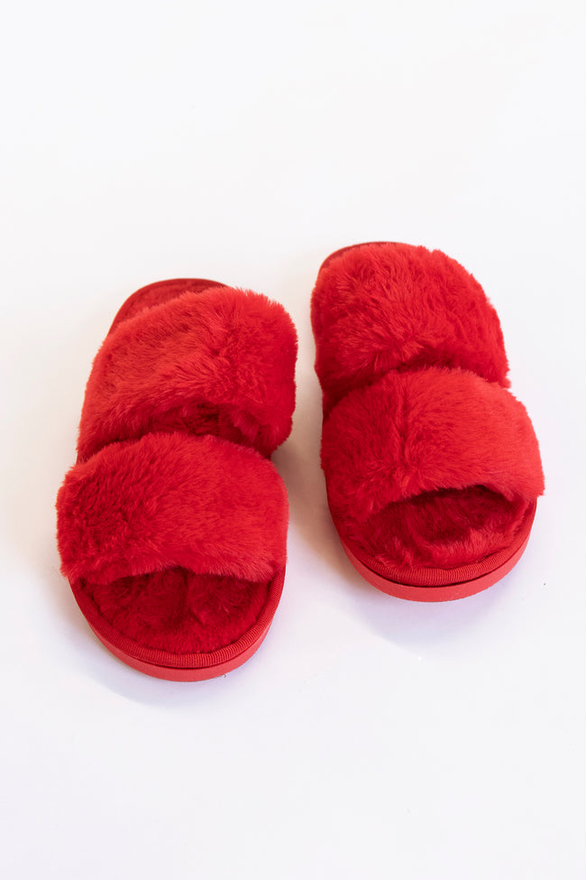 Goodnight Dreams Fuzzy Red Slippers