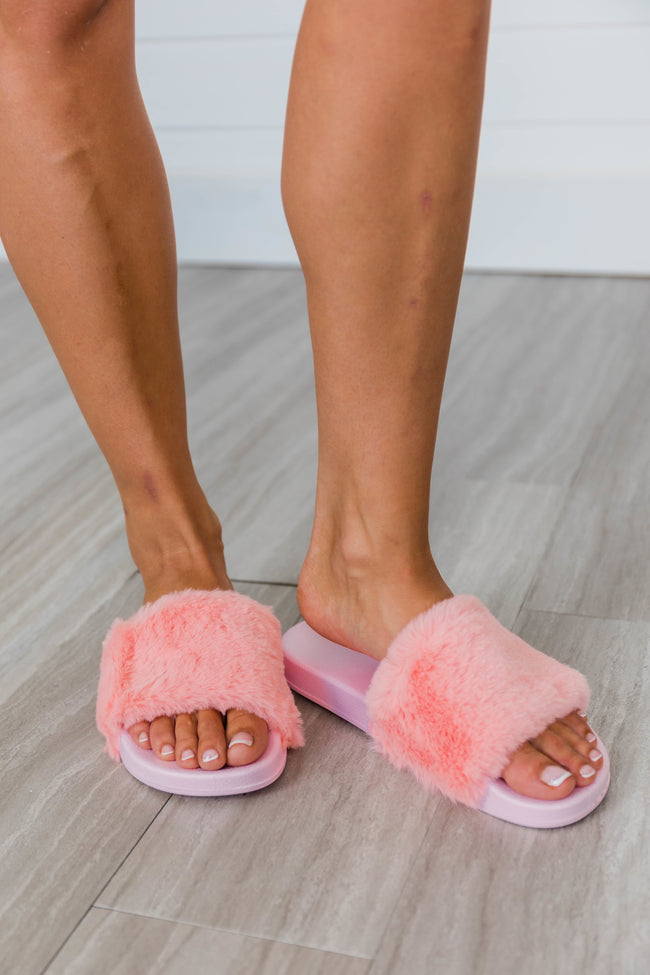 Sliding Into Comfort Fuzzy Slippers Pink FINAL SALE