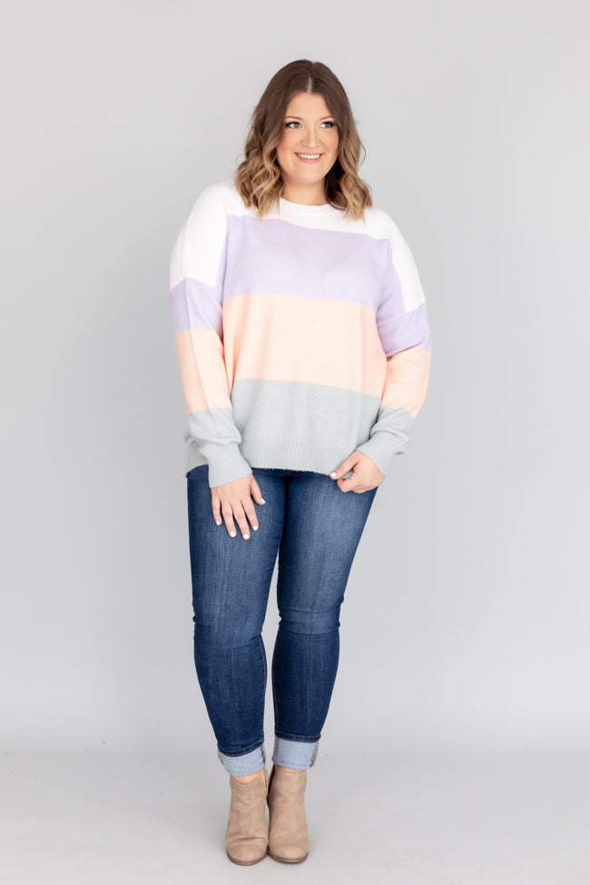 Make Time For You Colorblock Purple Sweater