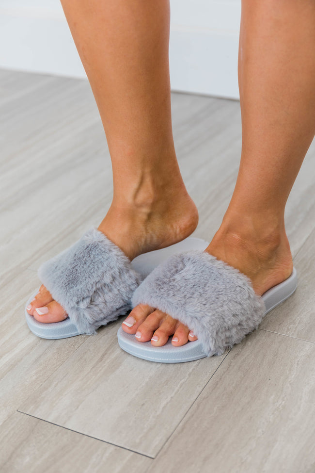 Sliding Into Comfort Fuzzy Slippers Grey FINAL SALE