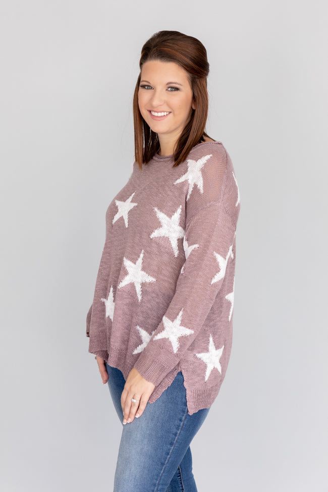Born A Star Distressed Purple Sweater