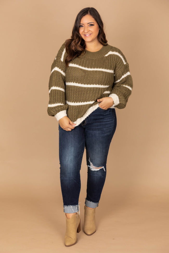 First To Fall In Love Olive Striped Sweater