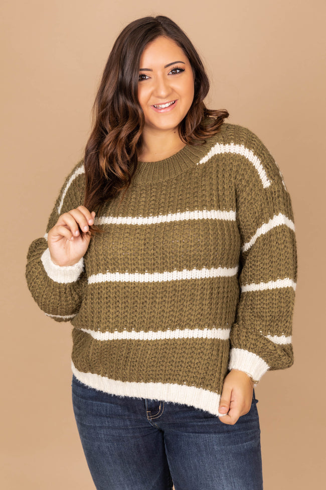 First To Fall In Love Olive Striped Sweater FINAL SALE