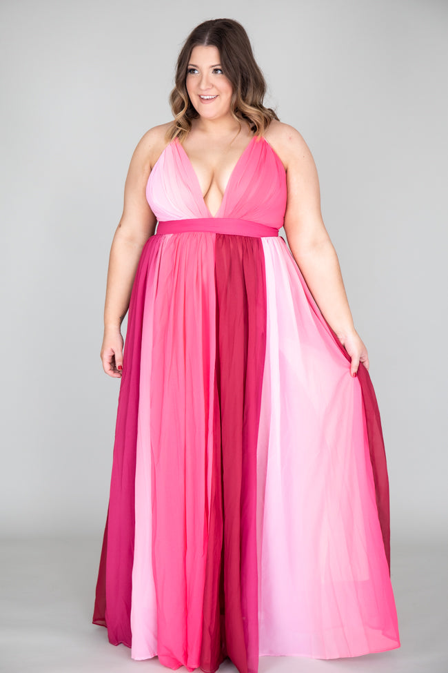 It All Begins With Love Pink Ombre Maxi Dress