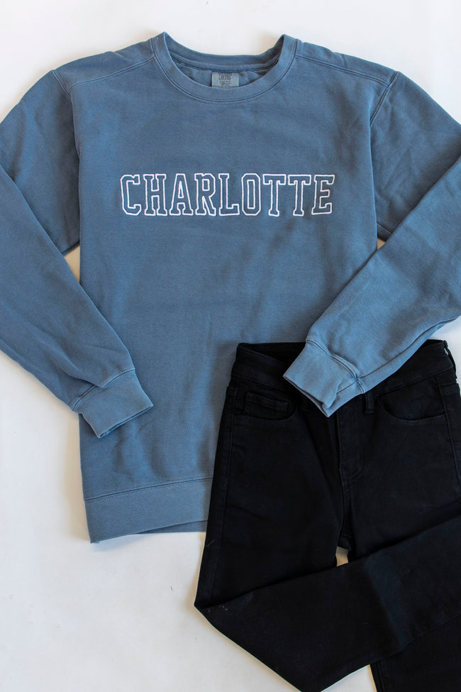 Comfort Colors City Embroidered Blue Sweatshirt