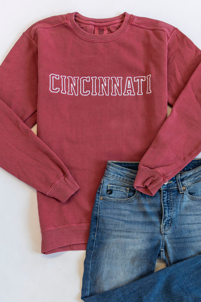 Comfort Colors City Embroidered Crimson Sweatshirt