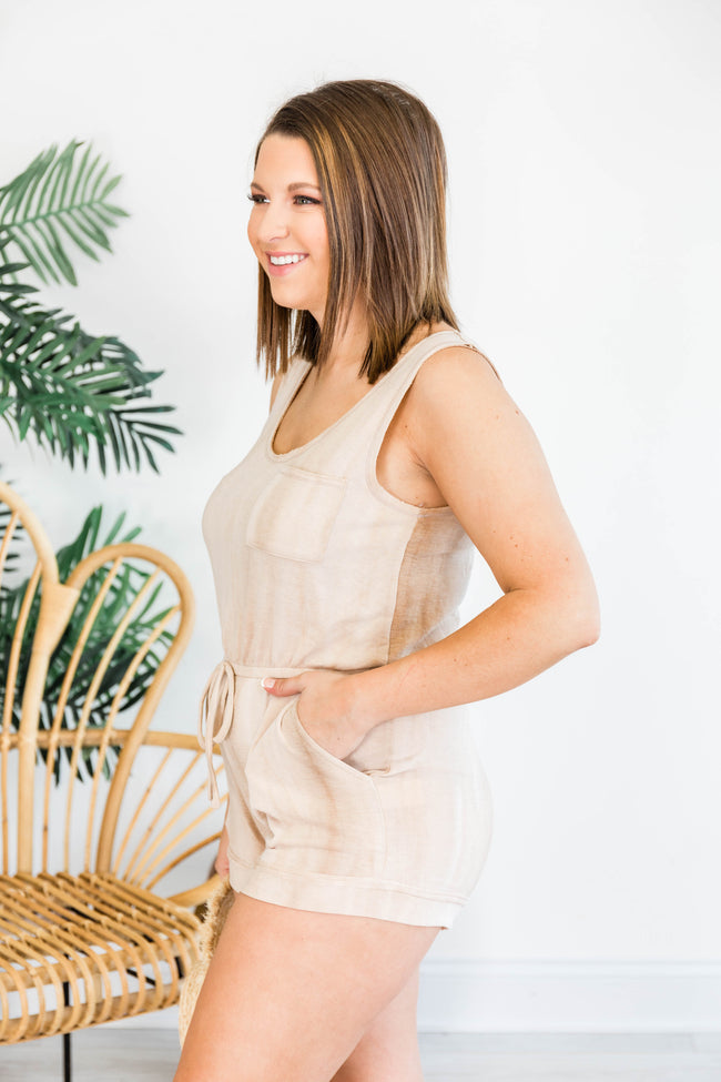 Let's Make Our Escape Taupe Tie Dye Romper
