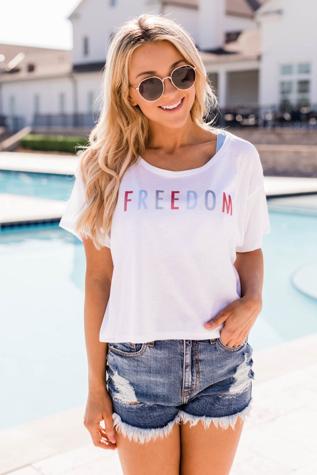 Freedom Multi Cropped Graphic Tee White