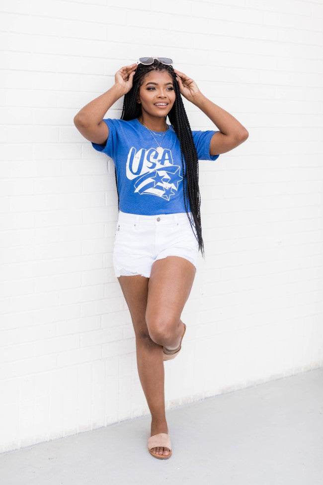 White USA Stars Graphic Vintage Royal Blue Tee
