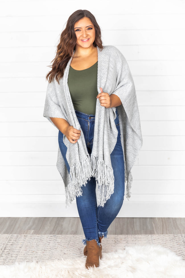 Say Yes Instead Grey Fringe Shawl