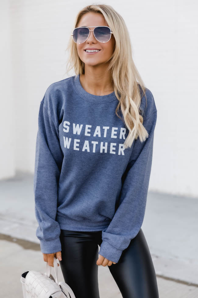 Sweater Weather Faded Navy Graphic Sweatshirt