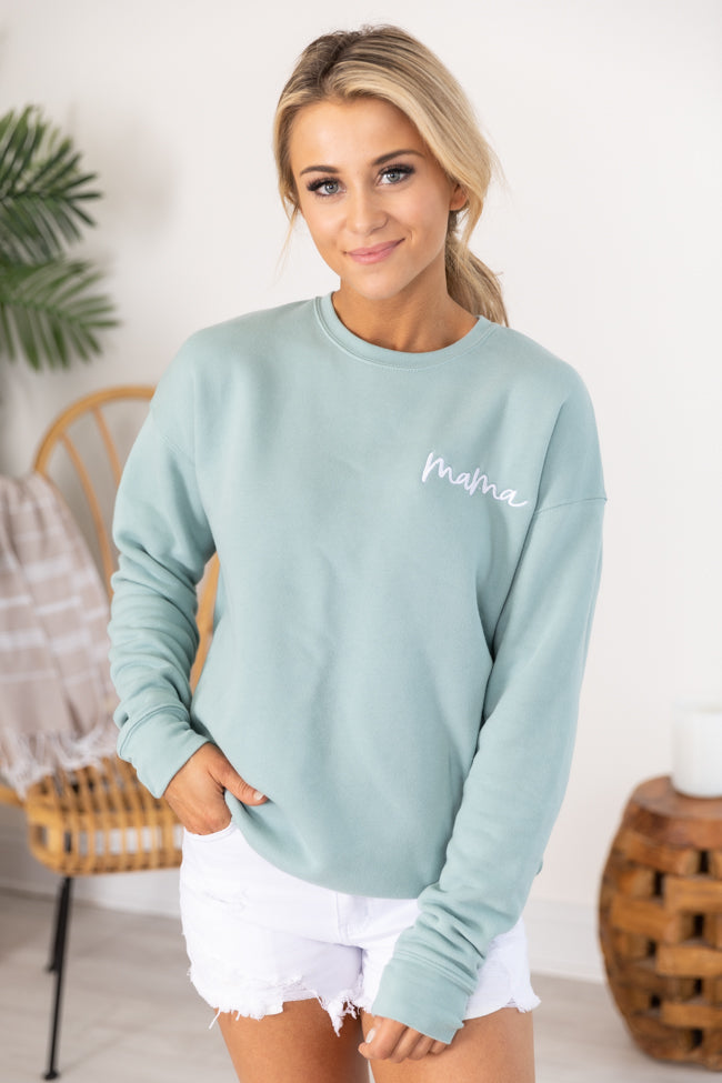 Mama Embroidered Script Dusty Blue Sweatshirt