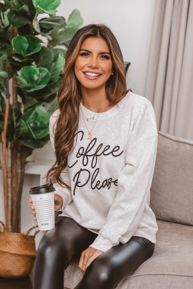 Coffee Please Graphic Heather Sand Sweatshirt